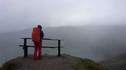 Lake Quilotoa in the mist