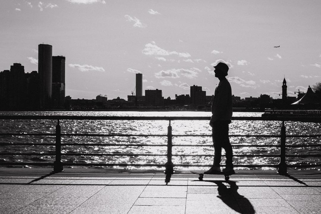 Hudson River relaxing park, Manhattan, NYC, USA